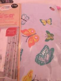 2 pairs Butterfly Curtains-Tab Tops,Standard Width