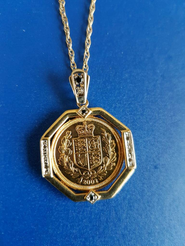 Gold half sovereign necklace