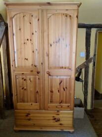 Pine Two Door + One Drawer Corndell Wardrobe