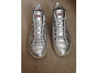 Silver leather Ecco high top trainers women's