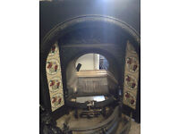 Antique Cast Iron Fire, open coal effect gas fire and slate hearth