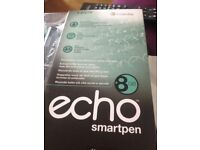 8GB echo Smartpen, Livescribe. New Boxed.- Pen, Cable, Dot Notebook, Cartridges, Caps, leaflets.