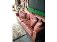 Designer three seat Italian leather sofa