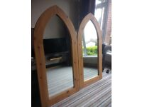 Natural Pine Gothic Arched Mirrors