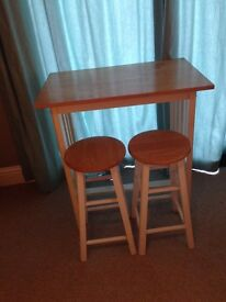 Solid Wood Table with 2 matching stools
