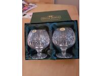 2 Tyrone crystal brandy goblets in box never used