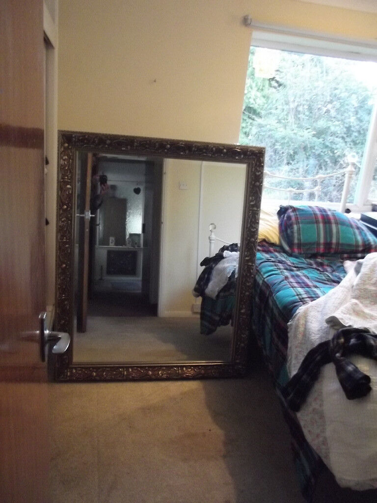 Very Large Bevelled Antique Style Rectangle Wall Mirror
