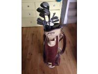 Vintage Slazenger Pinehurst golf clubs, full set 1-3W, 2-9I, wedge, putter, bag and glove