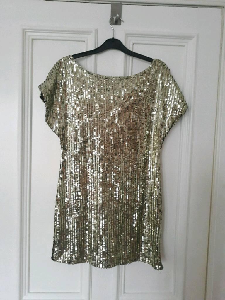 Amazing gold sequin tunic/dress 12/14