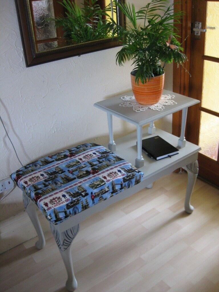 BEAUTIFUL PHONE TABLE, SIZE: L-96.5cm, W-42.5cm, H-46cm lowest, H-74.5cm highest. Fishponds. BS16.