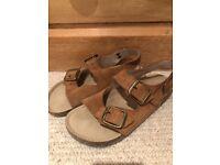 Boys Boden tan leather sandles, size 32.