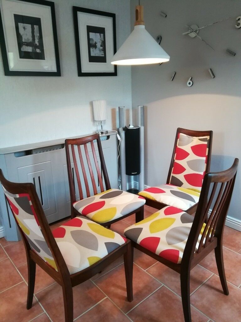 Newly upholstered vintage g plan dining kitchen chairs john lewis penny hill fabric
