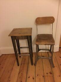 Vintage stripped metal wood bar kitchen stools