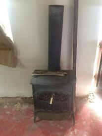 Log fire for workshop garage wood fire burner