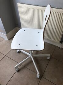 CHILD'S DESK CHAIR, MDF/WOOD, CASTORS, WHITE - FULLY ADJUSTABLE AND COMPLETE