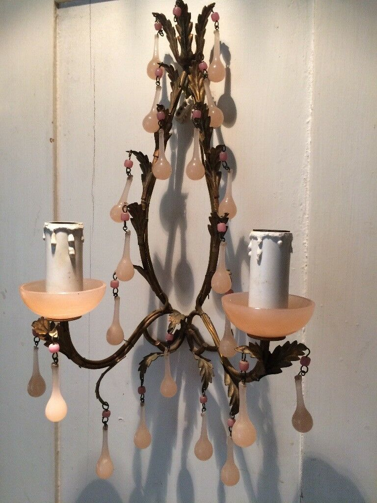 Antique French pair of wall lights.