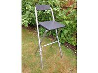 Black Padded Folding High Chair Breakfast Kitchen Bar Stool Seat