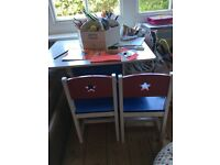 GLTC white table with 2 matching chairs