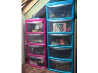 4 or 5 drawer plastic storage tower