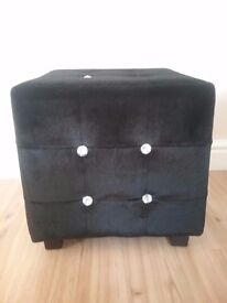Foot stool in black velvet with diamanté buttons