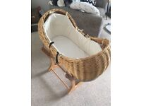 Moses basket with stand. Willow with cream lining.