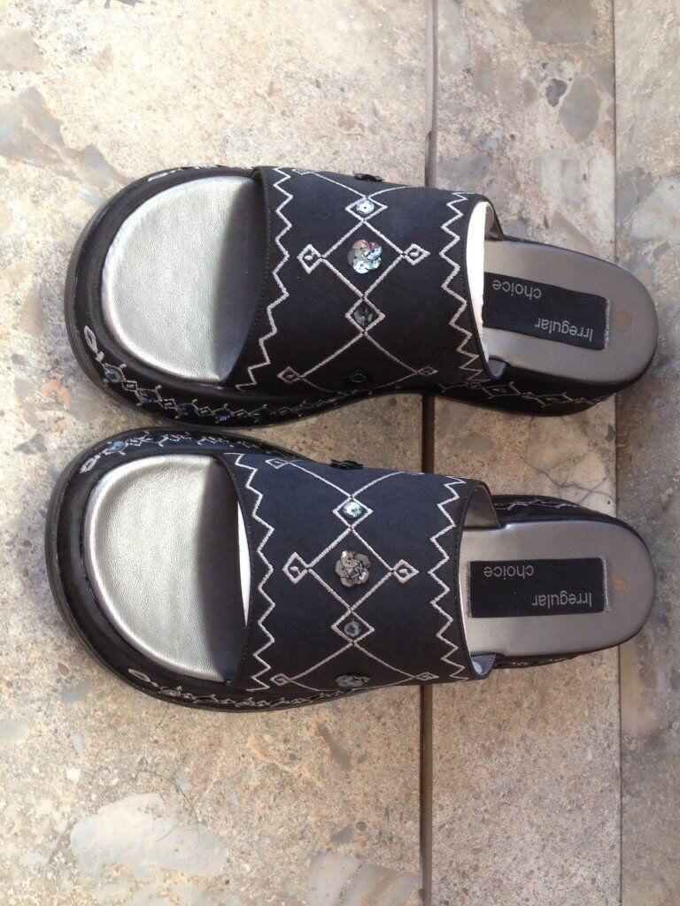 Irregular Choice Slip-on aztec pattern sandal with low wedge heel - size 6 - never worn.