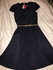 Navy blue skater dress size 8