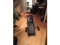 Home exercise set: weight bench, weights up to 35kg, pilates roll and exercise mat, bands