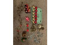 Box Xmas decorations, baubles, brass horns & drums, deer soft toys etc