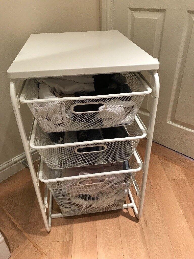 IKEA ALGOT Frame 3 Mesh Baskets Top Shelf White