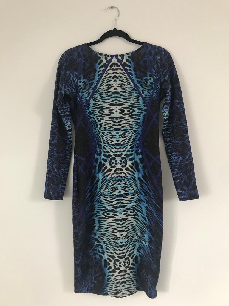 Blue Patterned Midi Dress