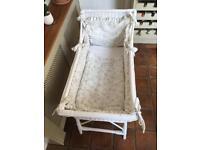 White shabby chic wicker crib