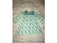 Girl INDIGO teal Green & White Long Sleeve Sequinned Blouse / tunic : 12 - 18 Months