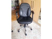 Black office chair in reasonable condition. Adjustable height, swivel seat on wheels