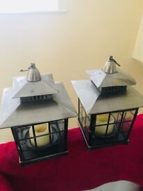 Two candle battery operated light holders large