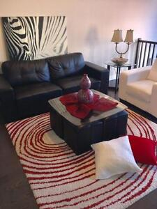 Living room set - sofa, chair, coffee table, side table, rug and painting FREE DELIVERY