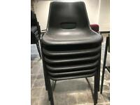 Stackable Black Plastic Chairs
