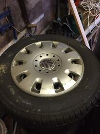 4 x Vw t5 transporter steel wheels and tyres x4