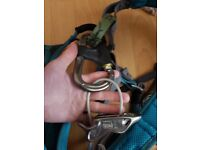 Petzl Luna Climbing Harness Size Small. with karabiners and two belay devices included.