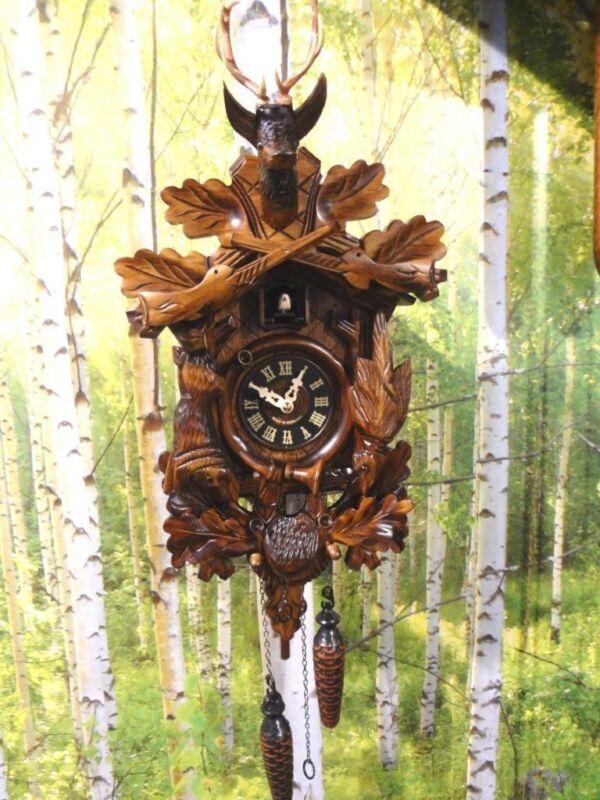 cuckoo clock black forest quartz german wood batterie clock handmade hunter