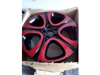 "FIAT 500X 18"" 4 ALLOY WHEELS RED AND BLACK WHEEL KIT PN -51993395 -2015"
