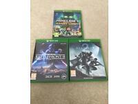 Xbox one games. Star Wars battlefront 2, destiny 2, minecraft
