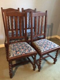 Four attractive wooden upholstered chairs for sale