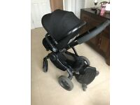 Icandy peach 3 buggy pram in jet black. Includes liner, buggy board brand new raincover