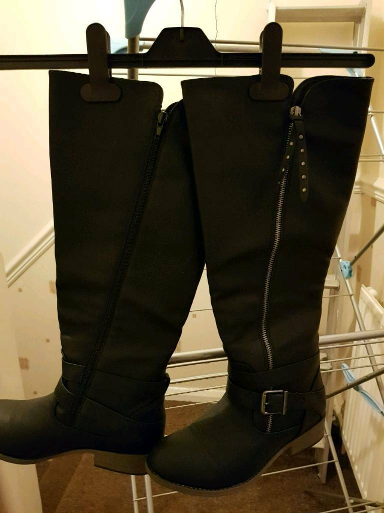 Black knee length boots 5
