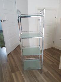 Glass panel shelving unit