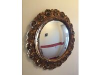 Vintage gold edge round convex mirror