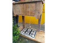 6 ring gas range hob and extracter