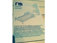 New boys girls mothercare White Darlington toddler junior bed and new deluxe sprung mattress