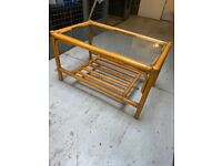 Vintage bamboo and glass table